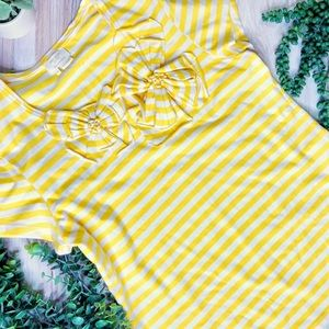 Kate Spade Yellow + White Striped Short Sleeve Top